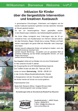 Flyer Inklusion Arche Alfsee